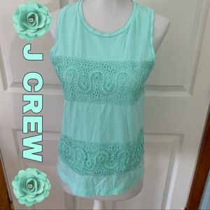 J Crew mint green tank top XS X-Small petite lace